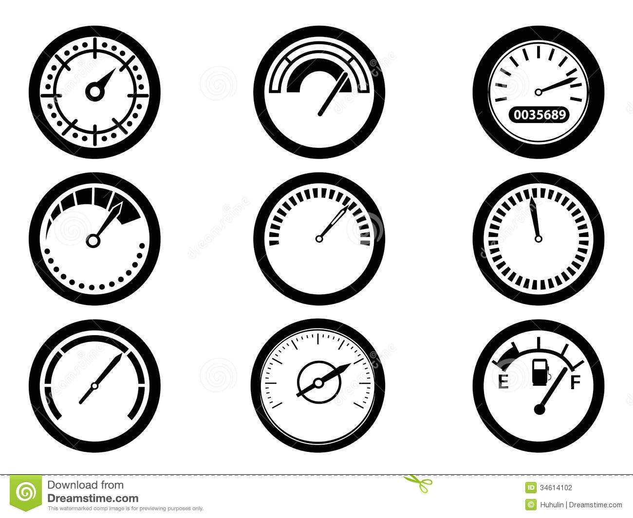Gauge Icons Stock Photography