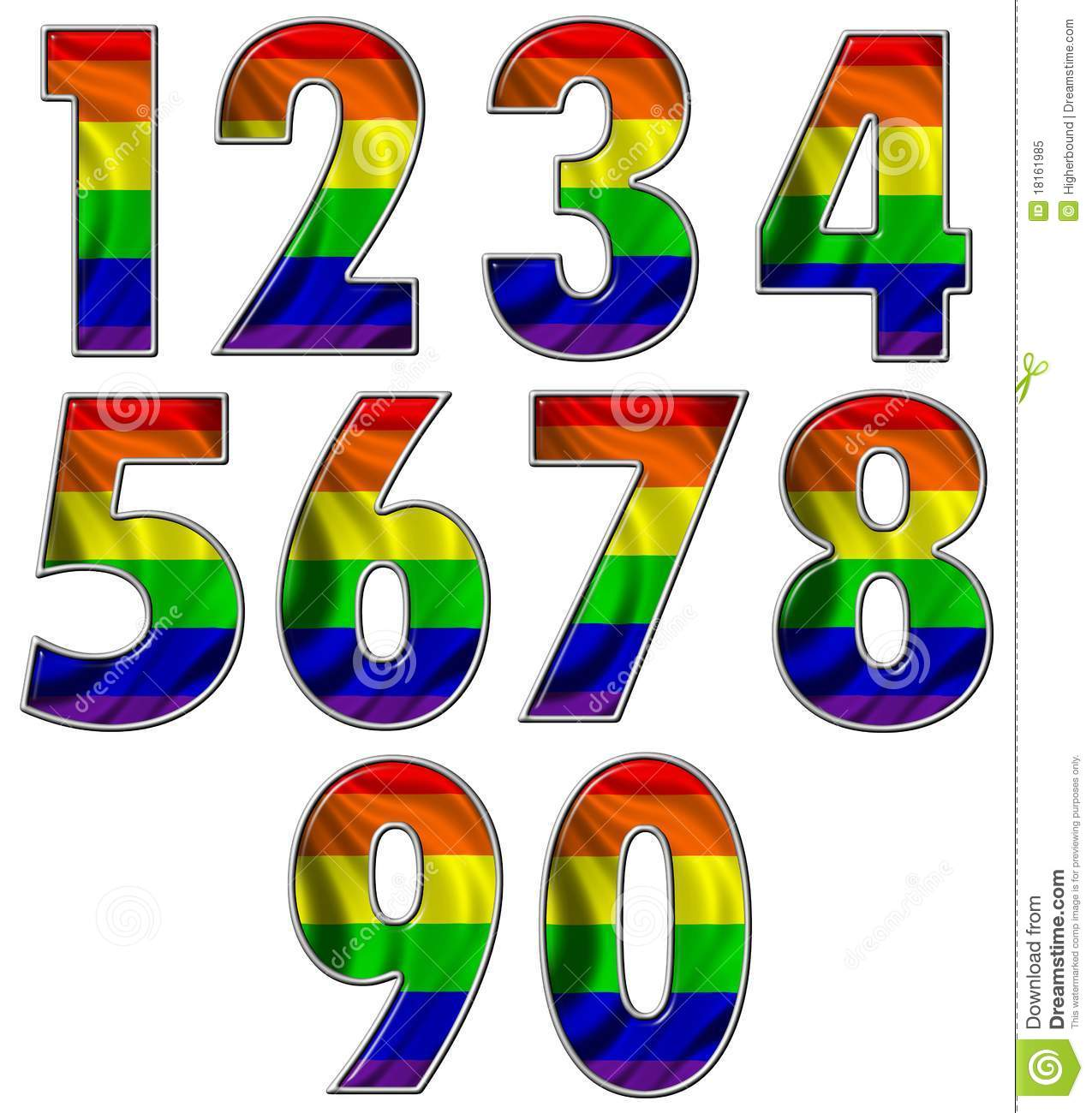 Rainbow Flag Numbers Royalty Free Stock Photo