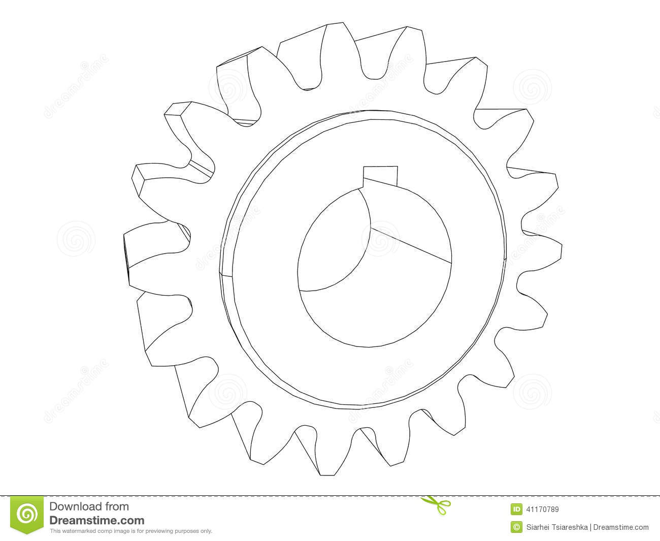 Gear Engineering Drawing Black Line Stock Images