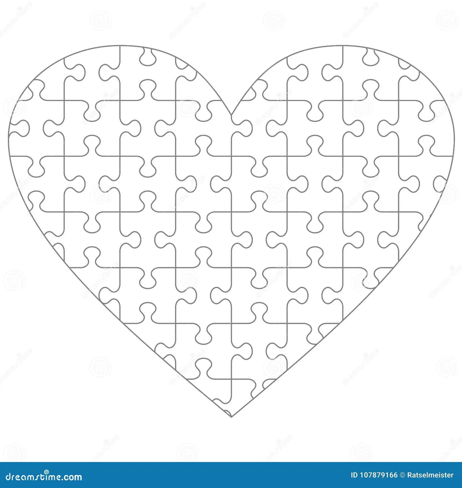 Geformte Puzzleschablone Des Herzens Vektor Abbildung