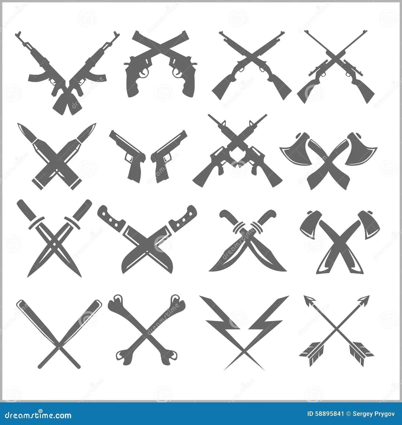Gekreuzte Waffen Vektor Sammlung Im Wei Vektor Abbildung