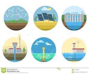 Generation Energy Types Power Plant Icons Vector Renewable Alternative Solar Wave Illustration