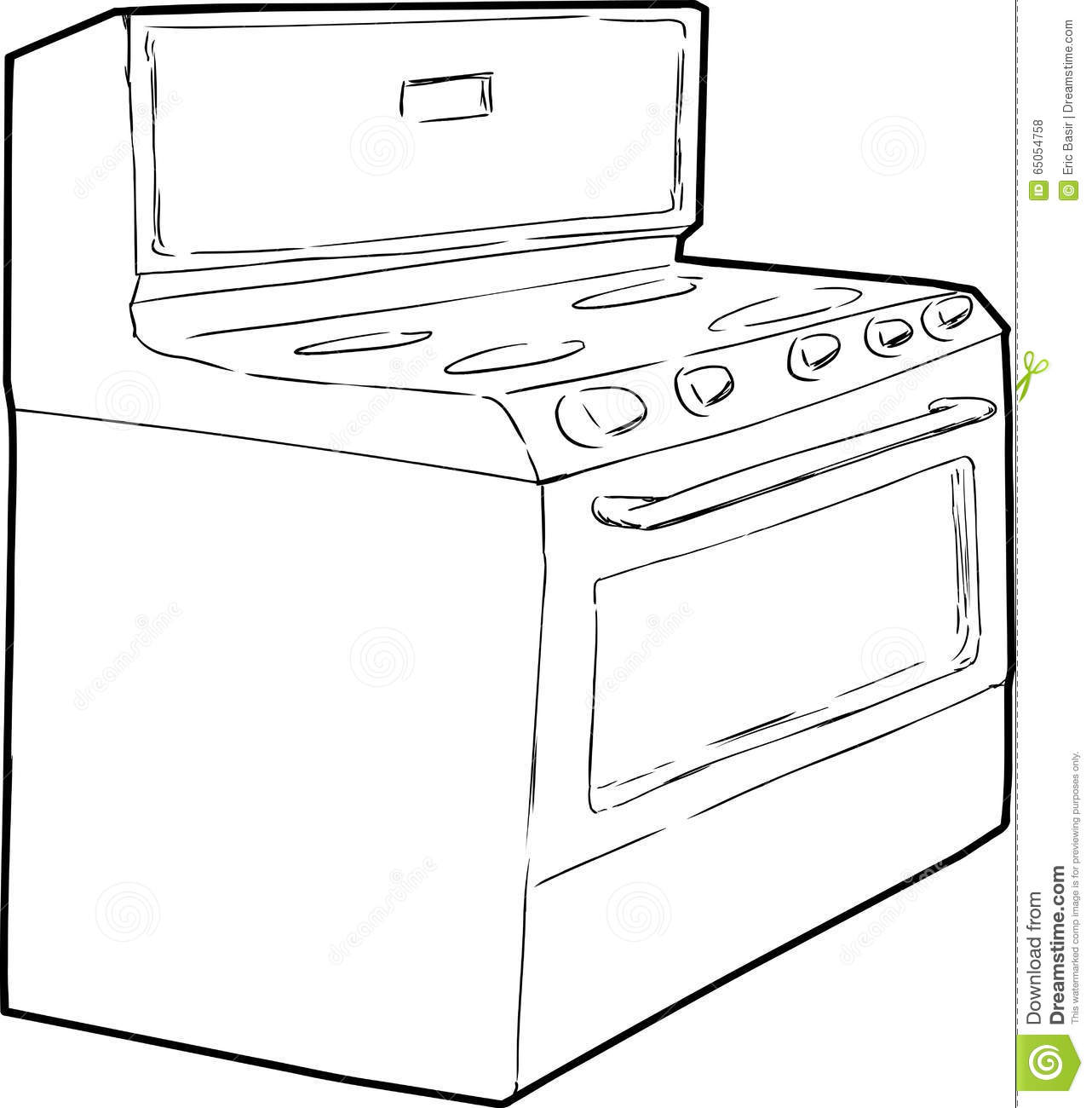 Generic Single Induction Stove Outline Stock Illustration