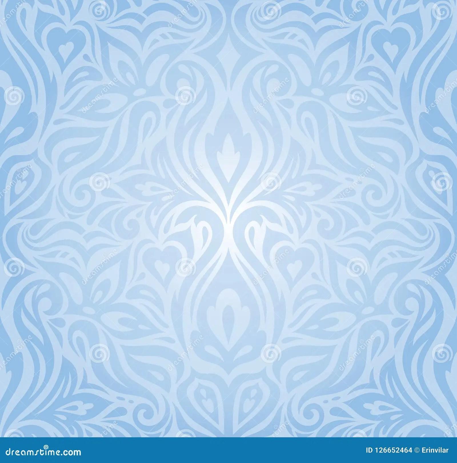 Gentle Blue Floral Vector Seamless Decorative Background Vintage Retro Wallpaper Design Stock Vector Illustration Of Flower Color 126652464
