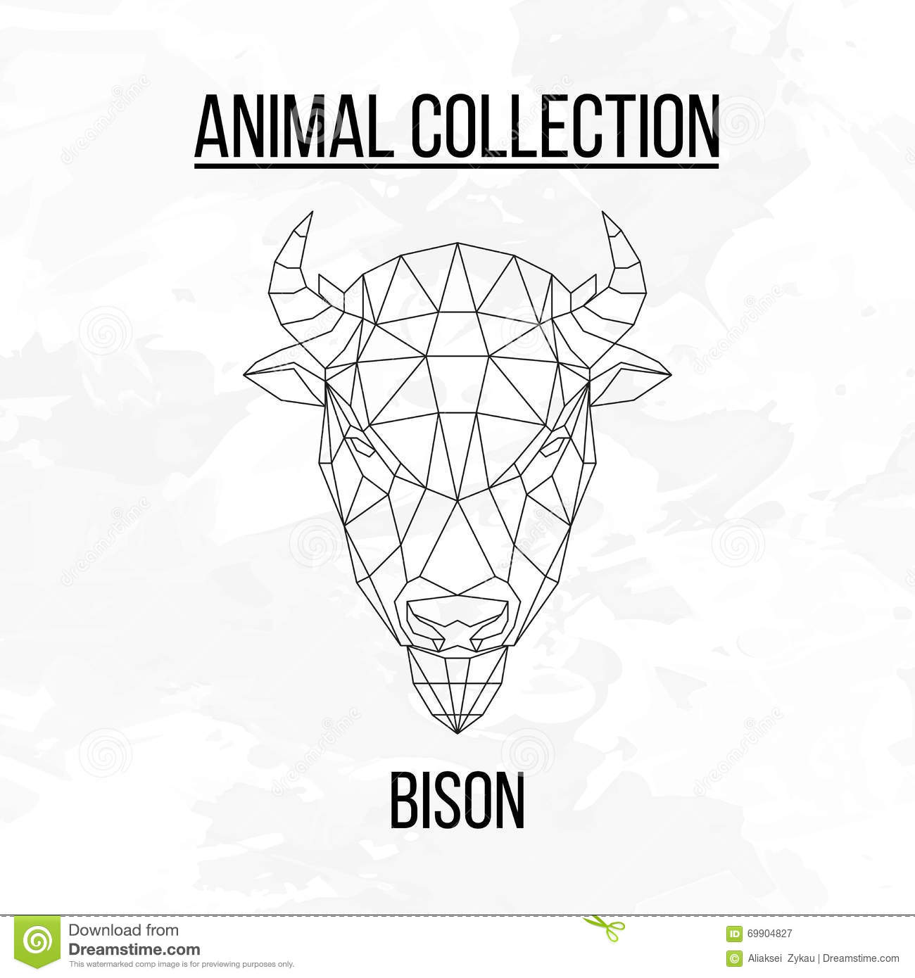 Geometric Bison Head Stock Vector