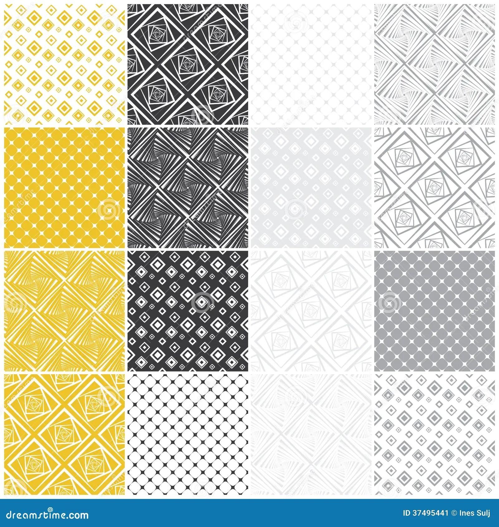 Geometric Seamless Patterns Squares Stock Image