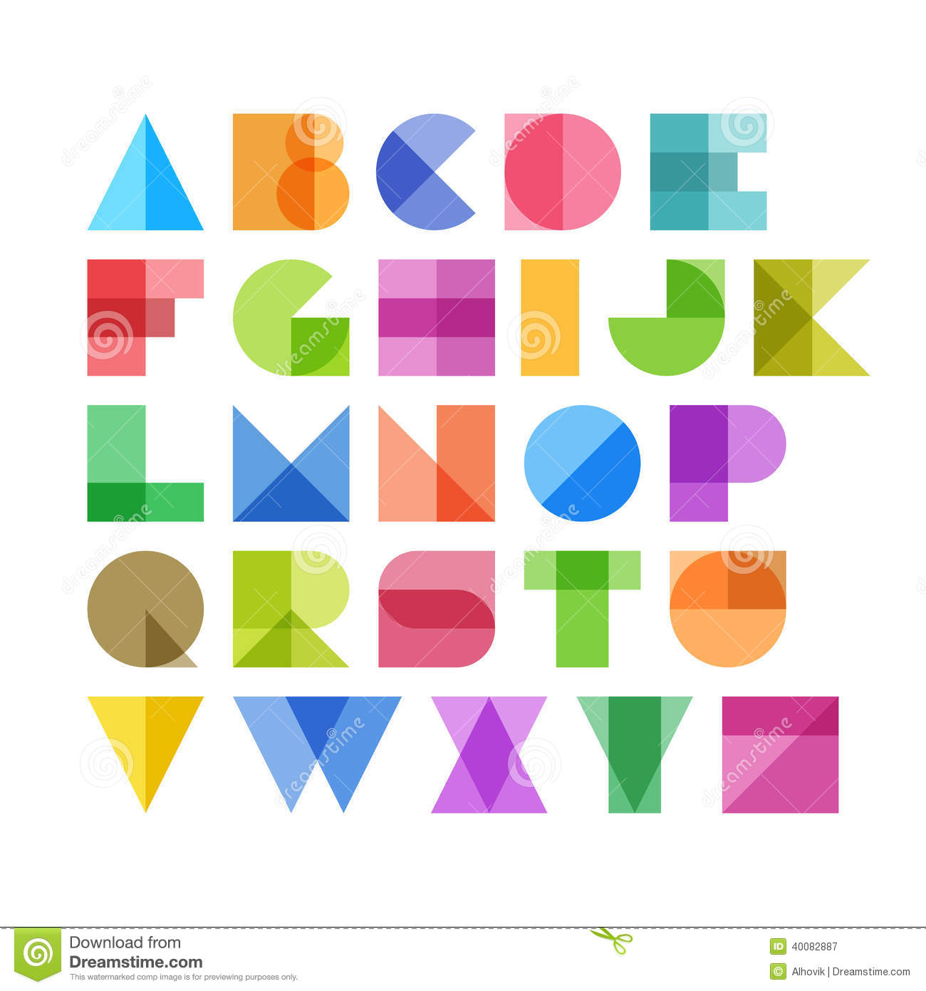 Geometric Shapes Alphabet Letters Stock Vector