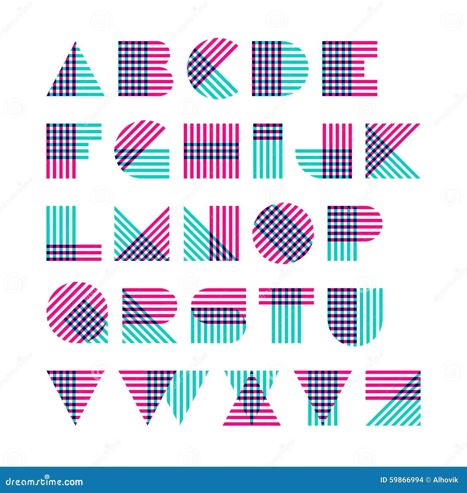 Geometric Shapes Alphabet Letters Cartoon Vector
