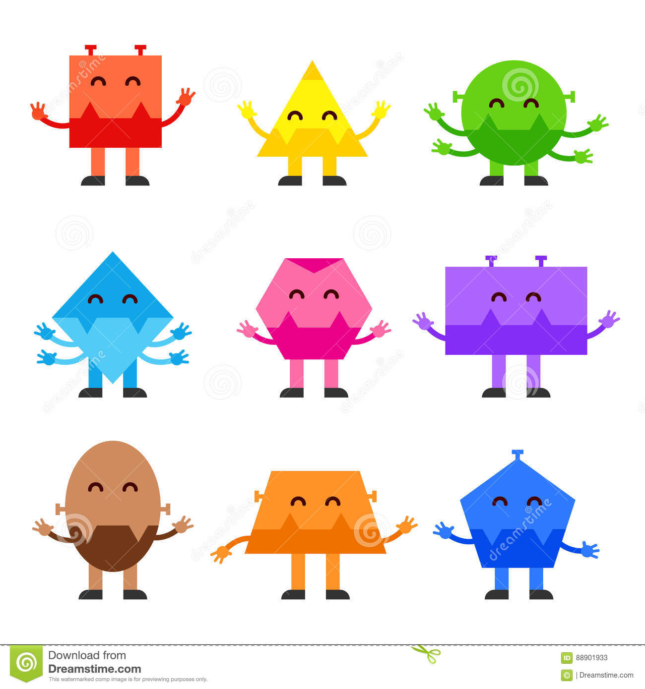 Geometric Shapes Funny Monsters Cartoon Vector Character