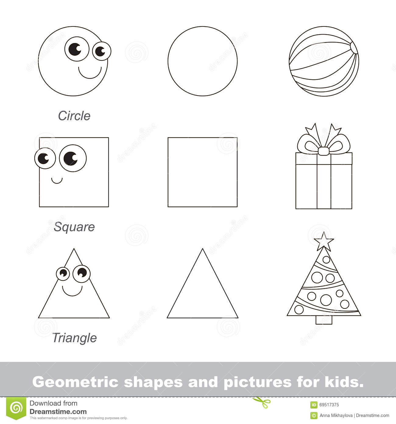 Geometric Shapes For Kids Stock Vector Illustration Of Point