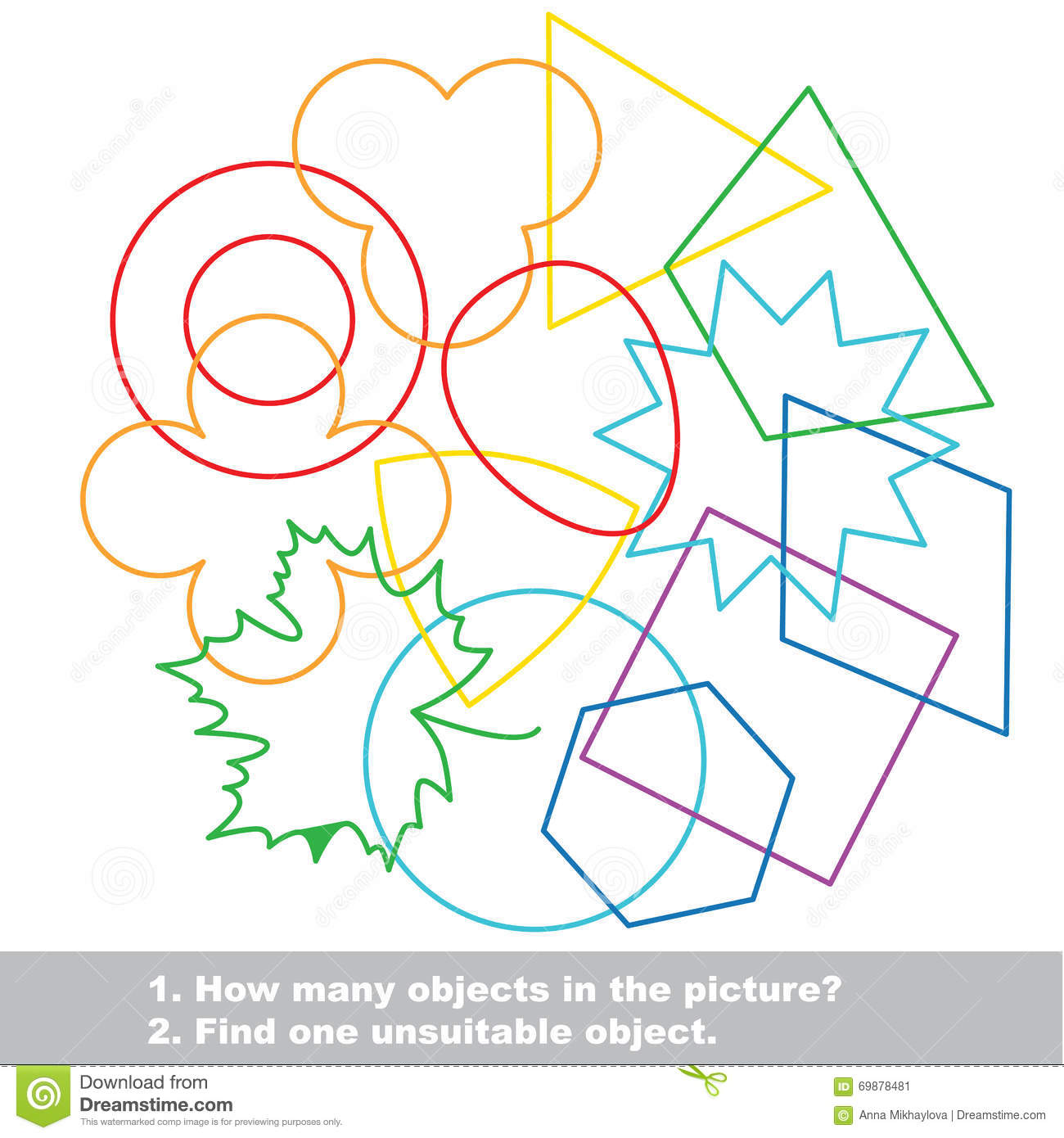 Geometric Shapes Mishmash Colorful Set In Vector Stock