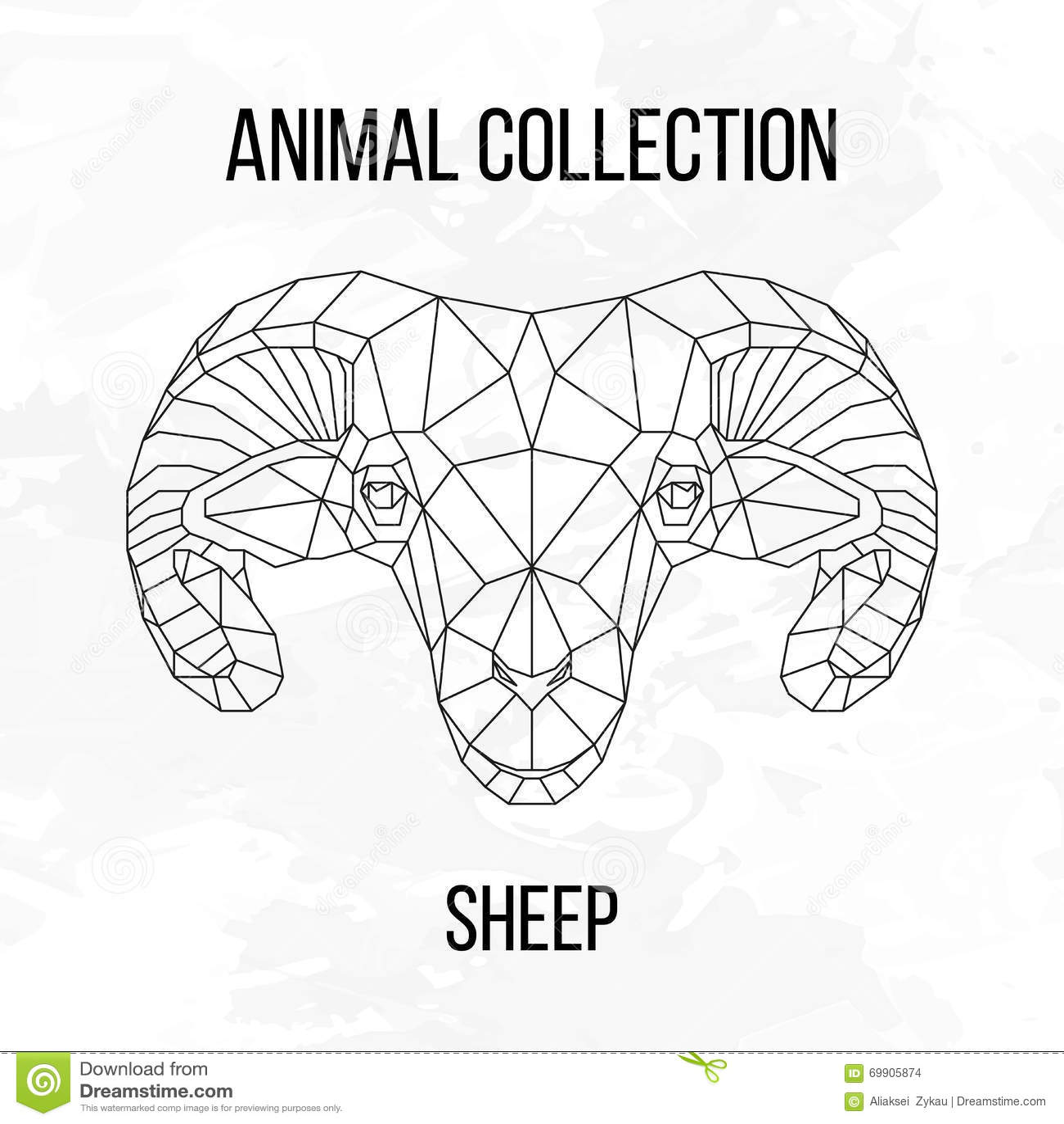 Geometric Sheep Head Stock Vector Illustration Of Design