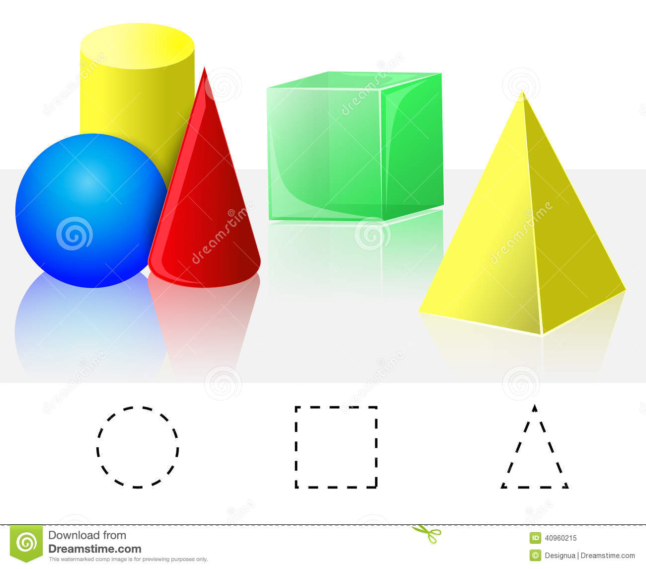 Geometry Cube Pyramid Cone Cylinder Sphere Stock