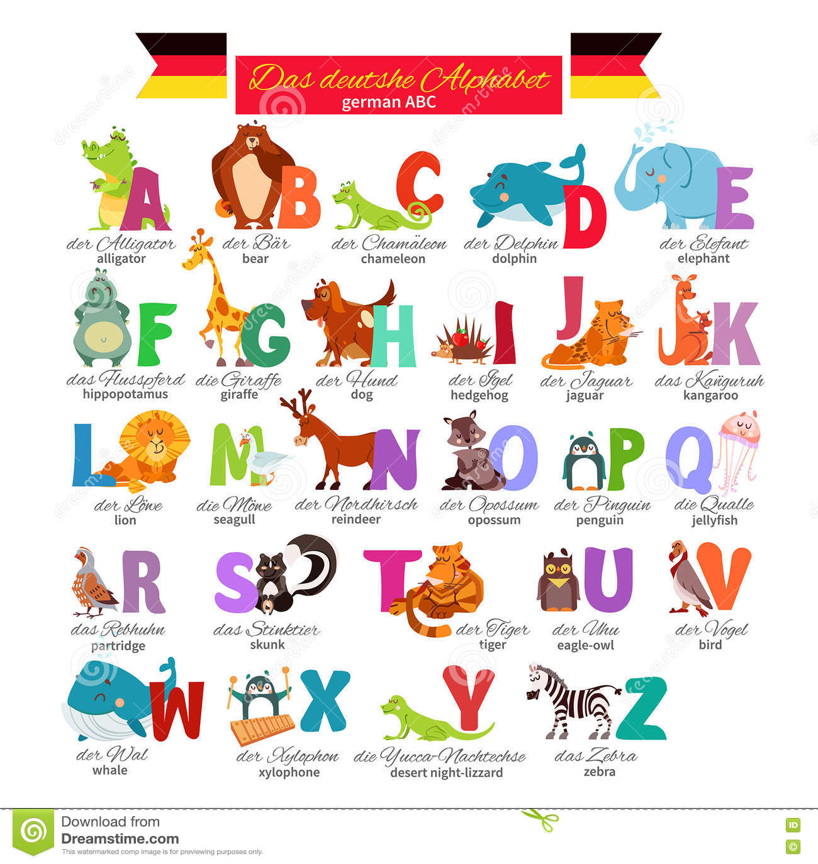 German Abc For Preschool Education Stock Vector