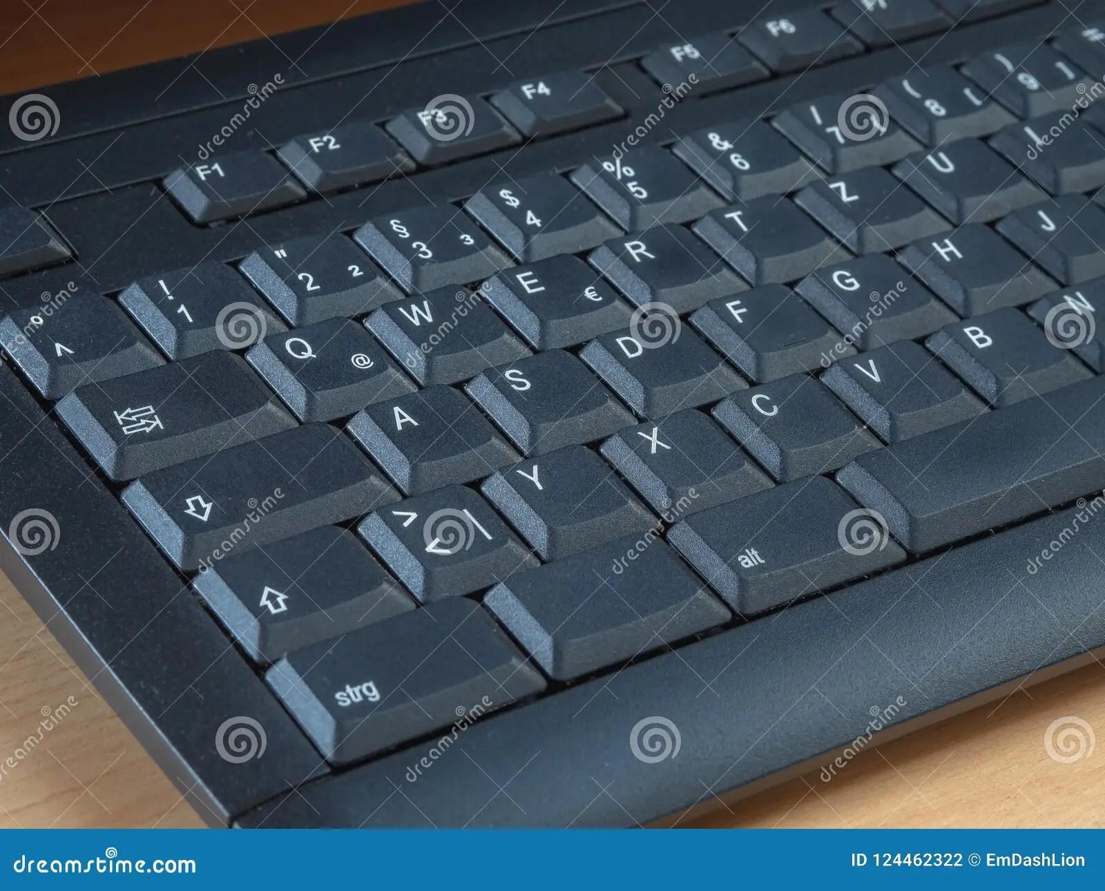 German Black Computer Keyboard With A Blank Key Stock