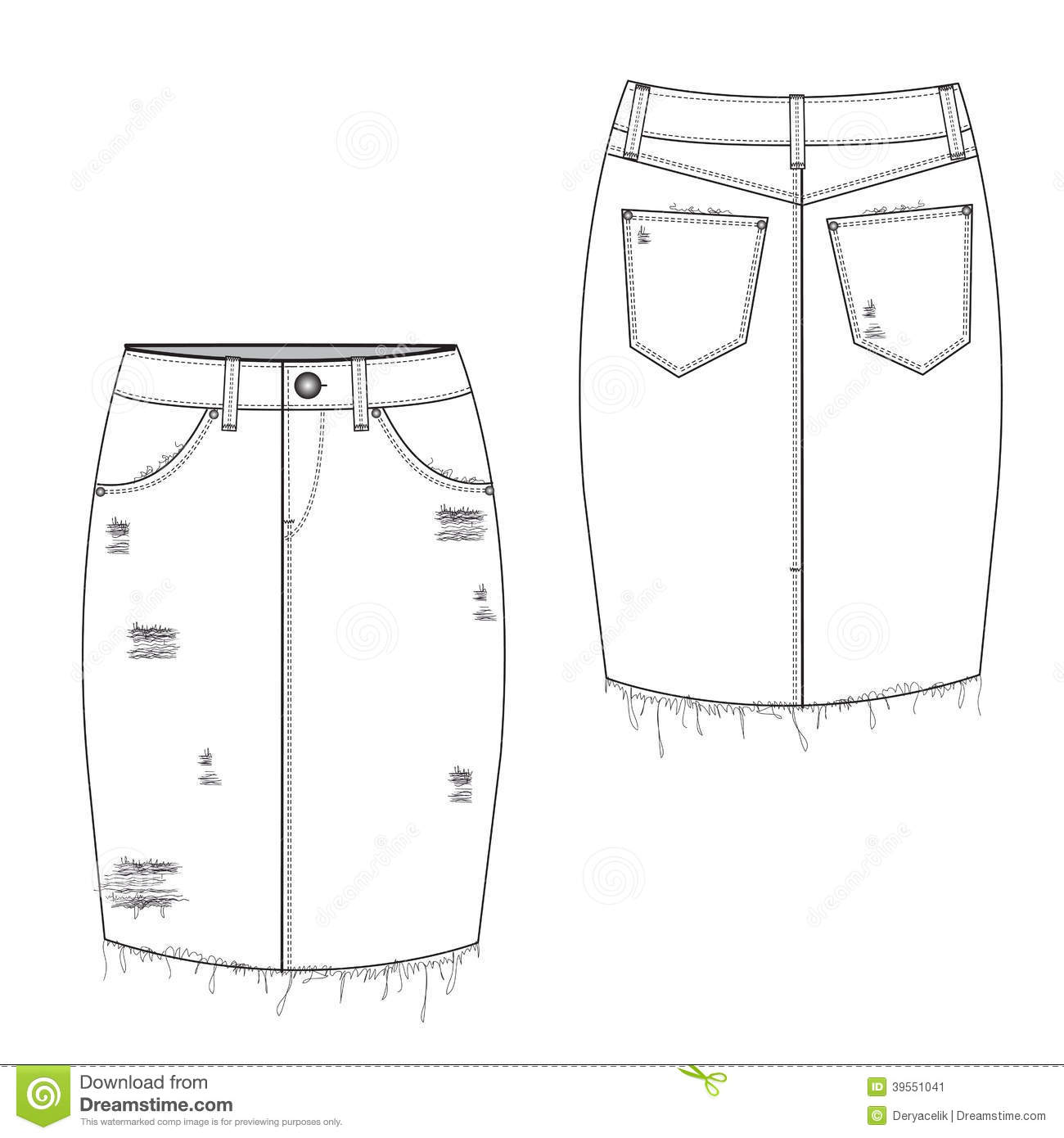 Gescheurde Midi Jean Skirt Vector Illustratie Illustratie
