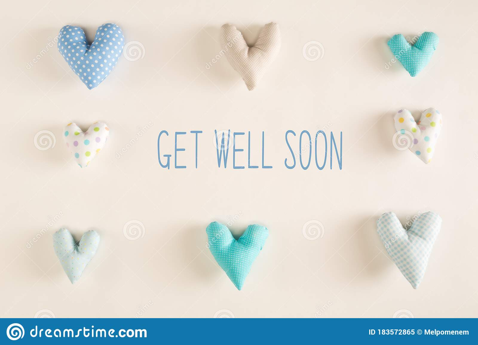 Get Well Soon Message With Blue Heart Cushions Stock Image