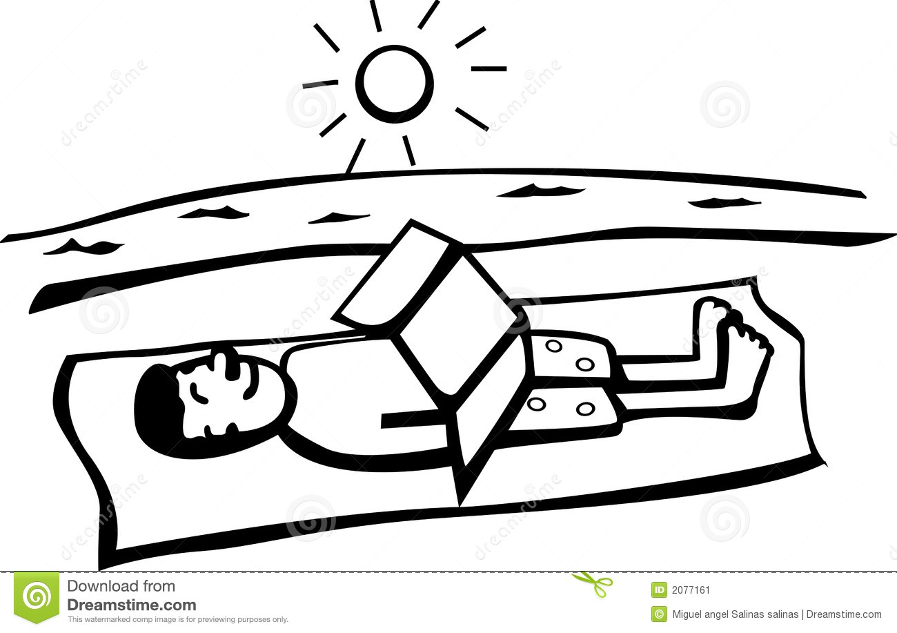 Getting A Tan In The Beach Vector Illustration Stock