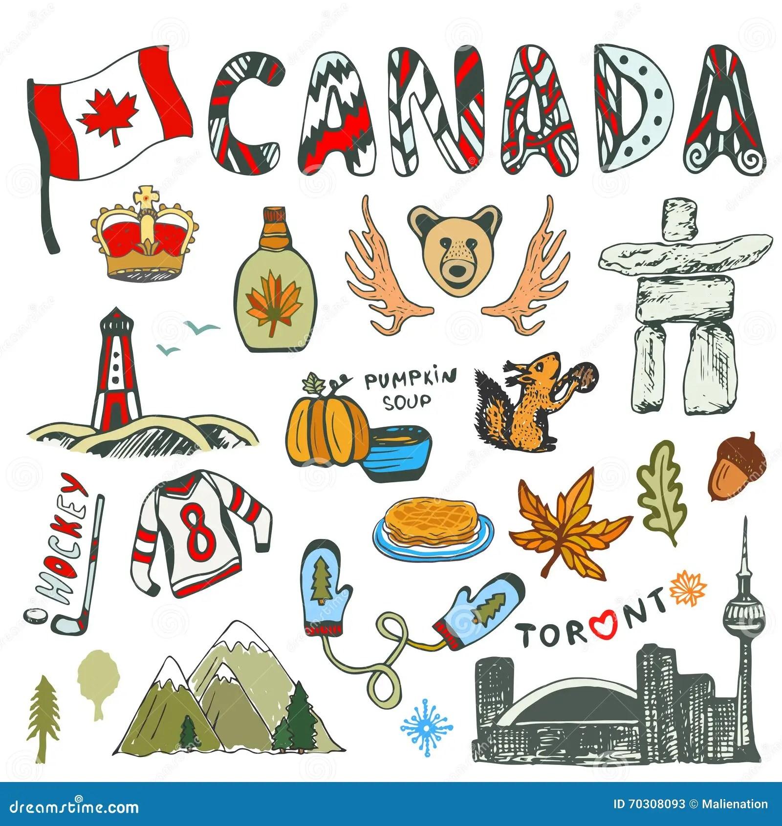 Gezeichnete Sammlung Der Skizze Hand Kanada Symbole