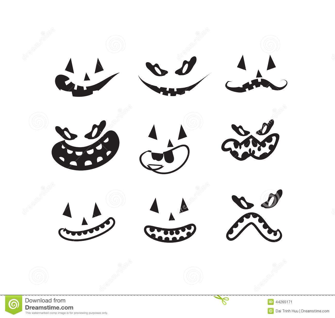 Ghost Faces Pumpkin Faces Stock Vector