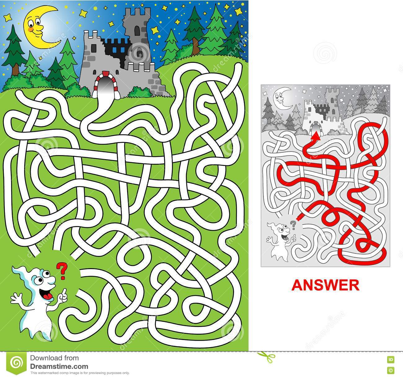 Easy Ghost Maze Cartoon Vector