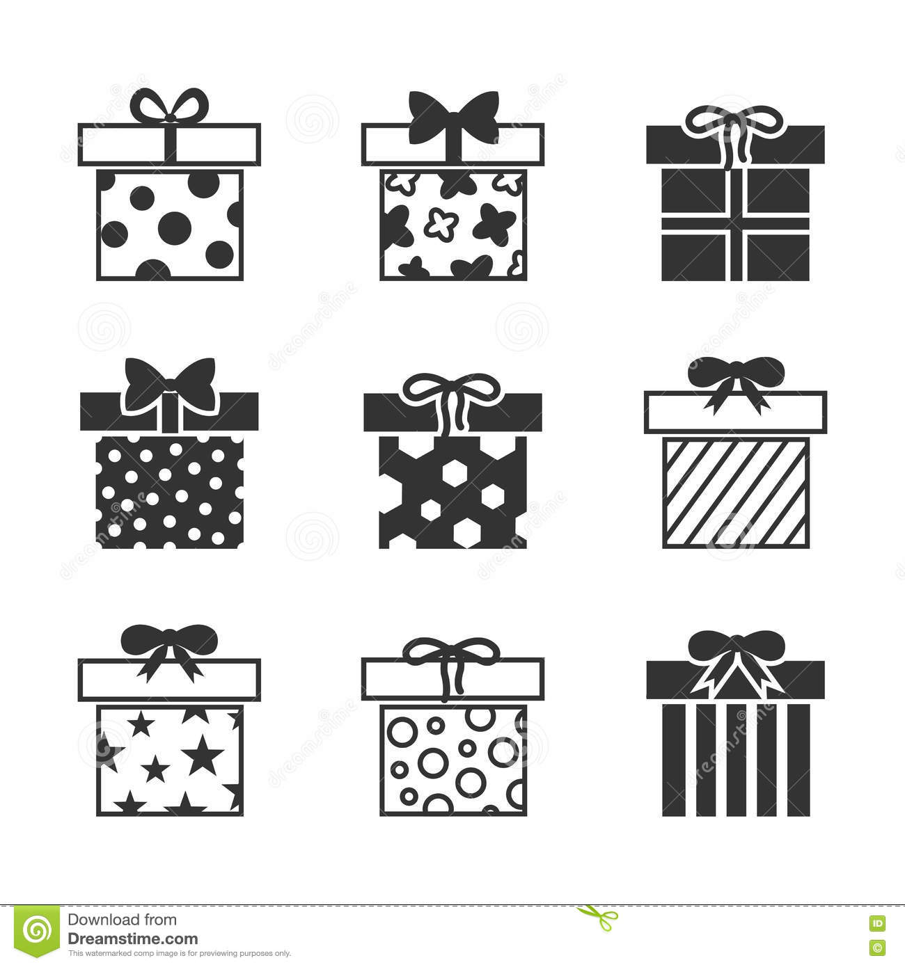 T Boxes Vector Icons Set In Black And White Stock