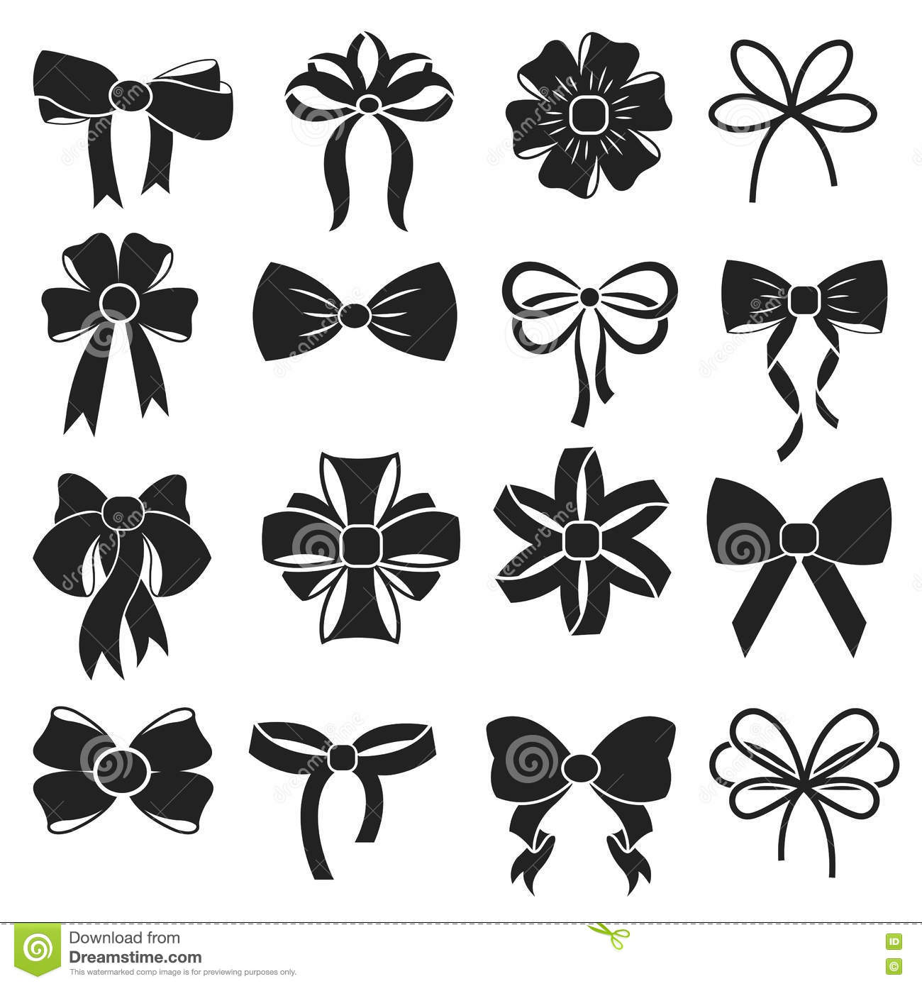 Vector Tie And Bow Icons Set Cartoon Vector