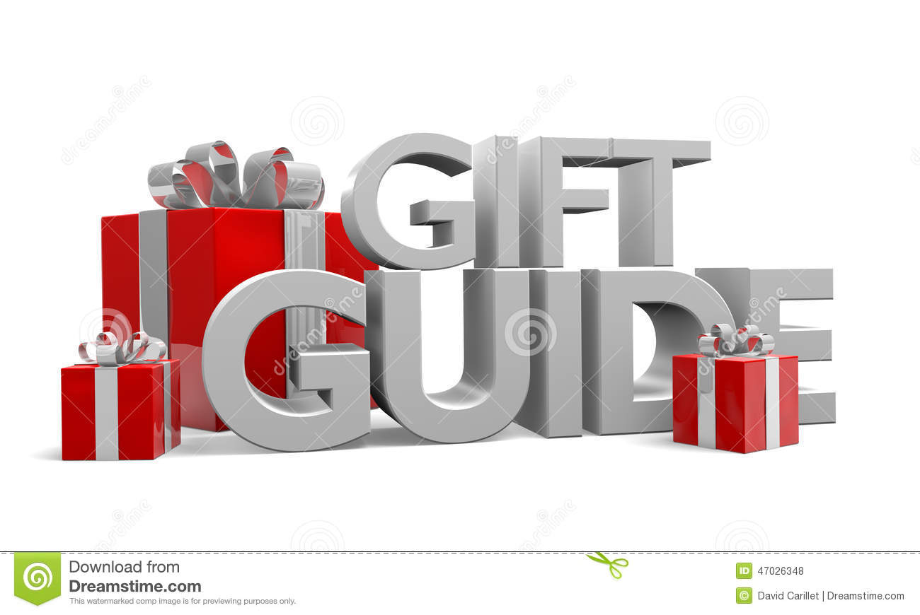 Gift Guide Text And Three Red Christmas Gifts Wrapped In