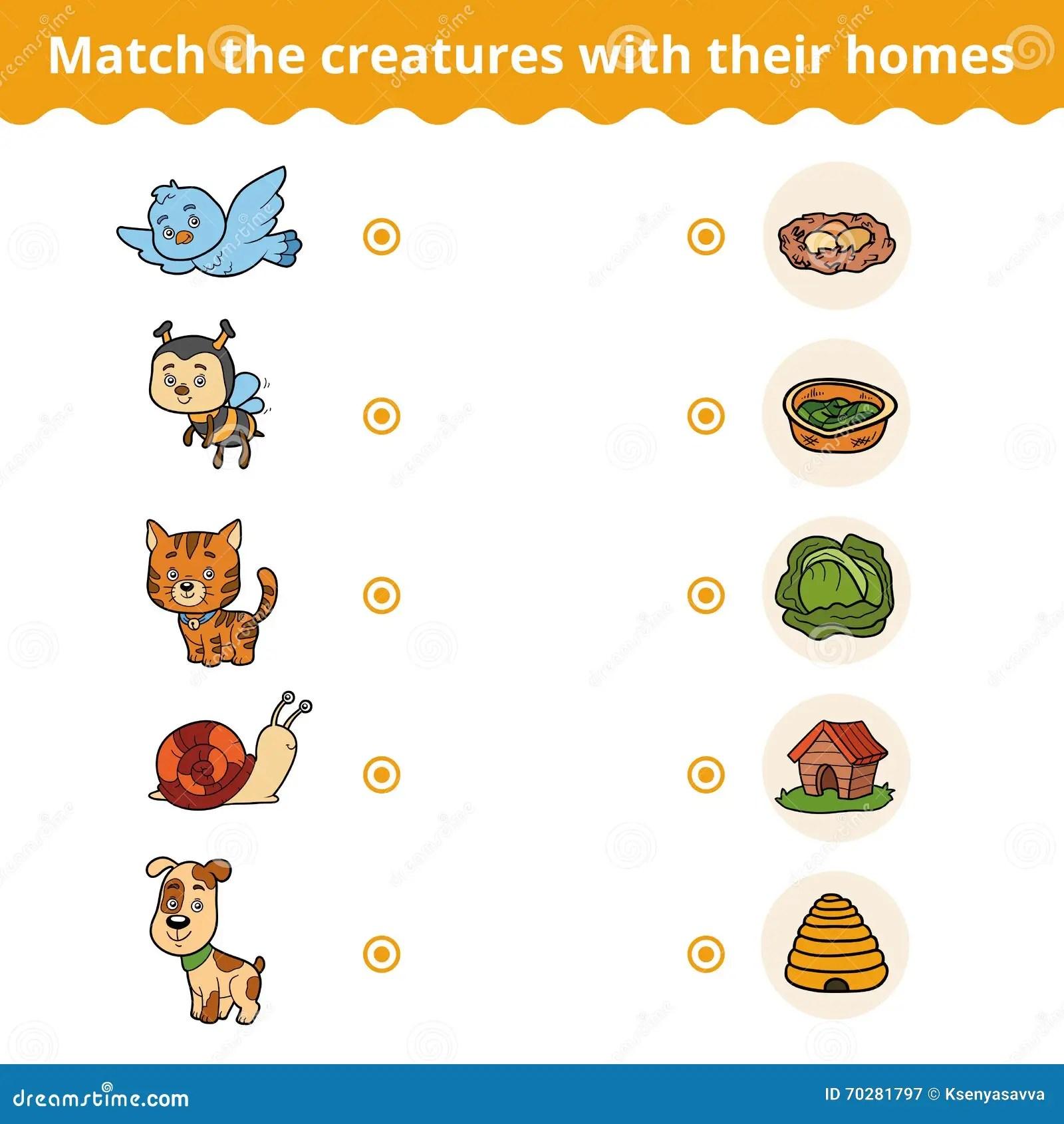 Gioco Di Corrispondenza Per I Bambini Gli Animali E Le Loro Case Illustrazione Vettoriale