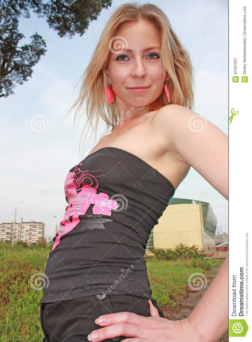 The Beautiful Young Girl Goes Around The City There Was A Hot Weather The Young Girl Appeared In The Wonderful Wood