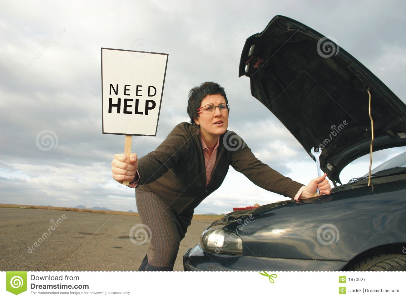 Girl With A Broken Car Royalty Free Stock Photography Image 1970027