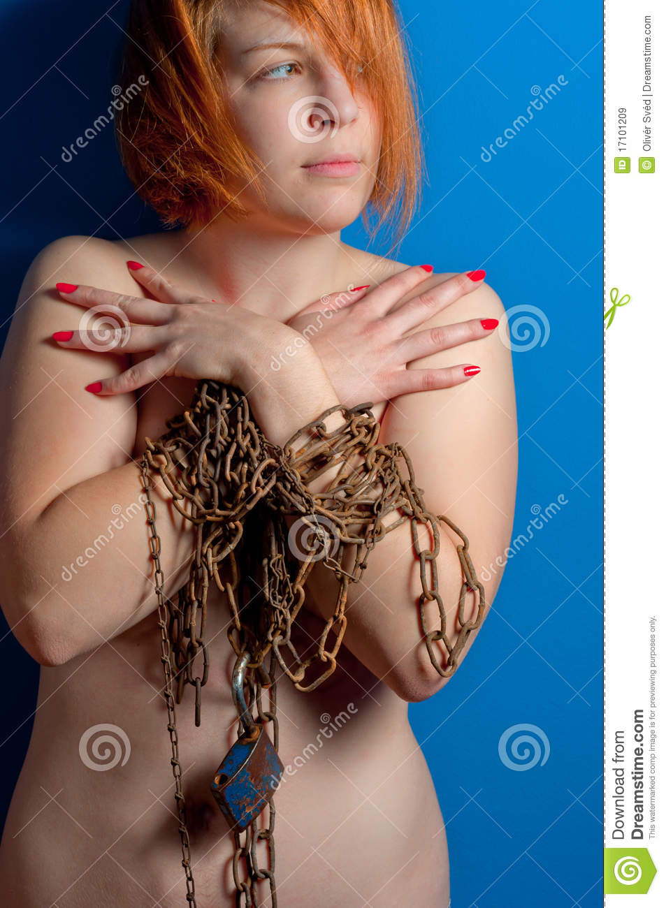 Girl With Chains And Padlock Royalty Free Stock Images