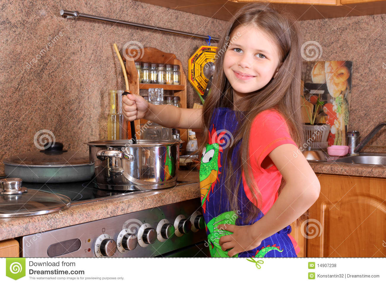 Girl Cooking Dinner Royalty Free Stock Photos Image