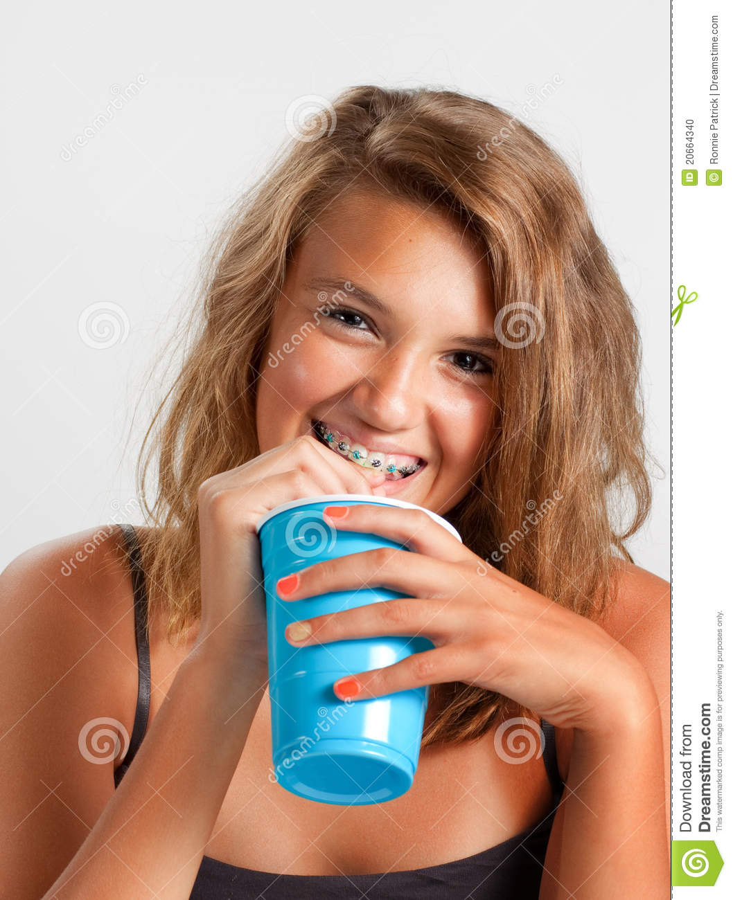 Teen Girl With Blue Braces Royalty Free Stock Photography