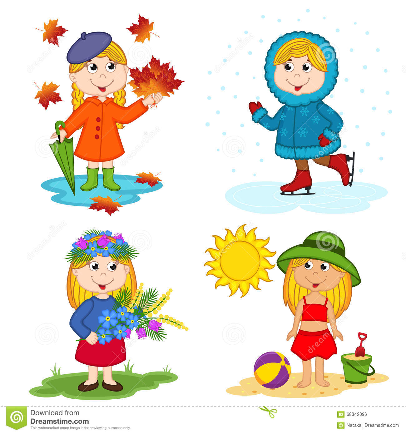 Girl And The Four Seasons Stock Vector Illustration Of