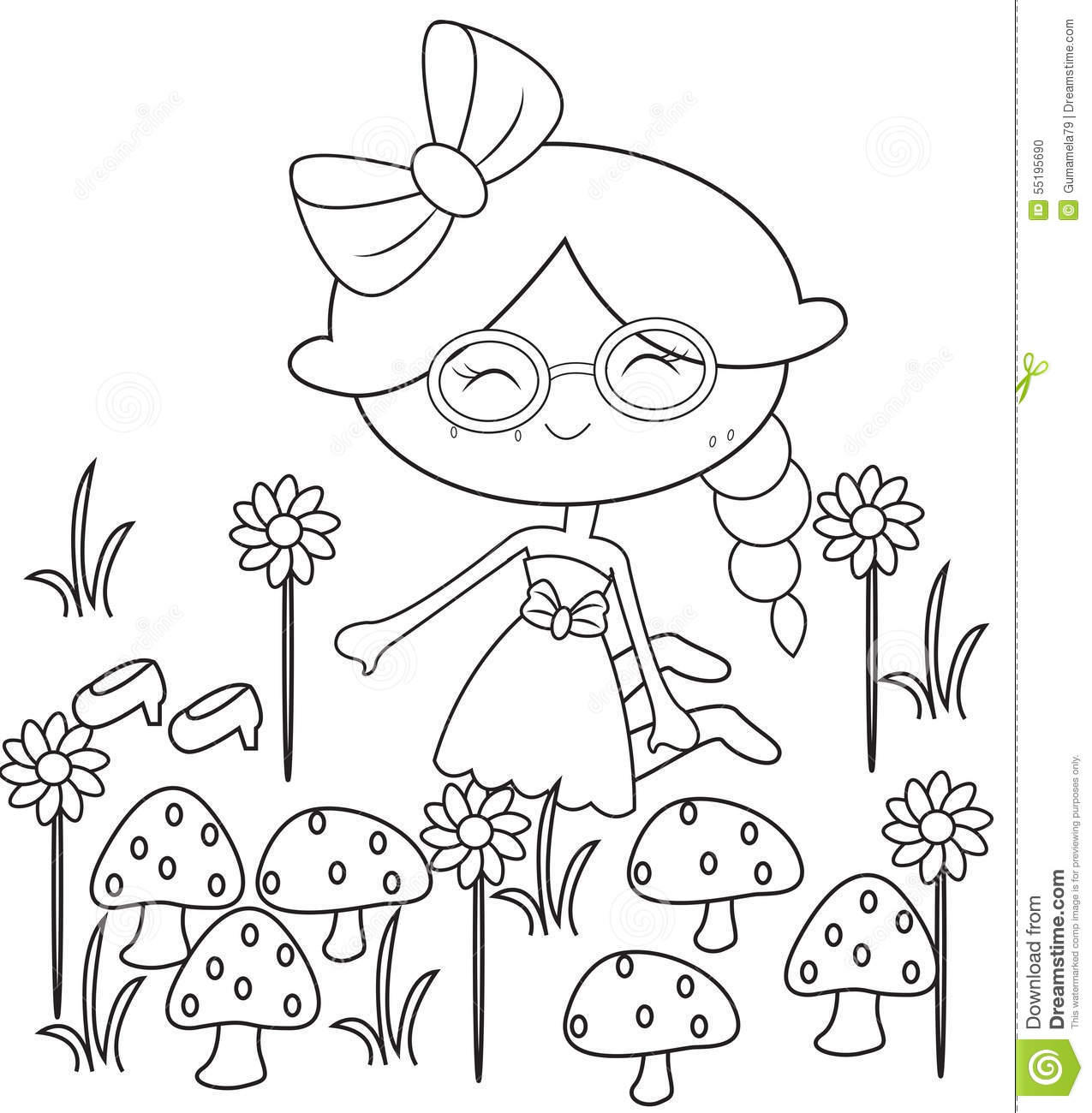 Girl In The Garden Coloring Page Stock Illustration