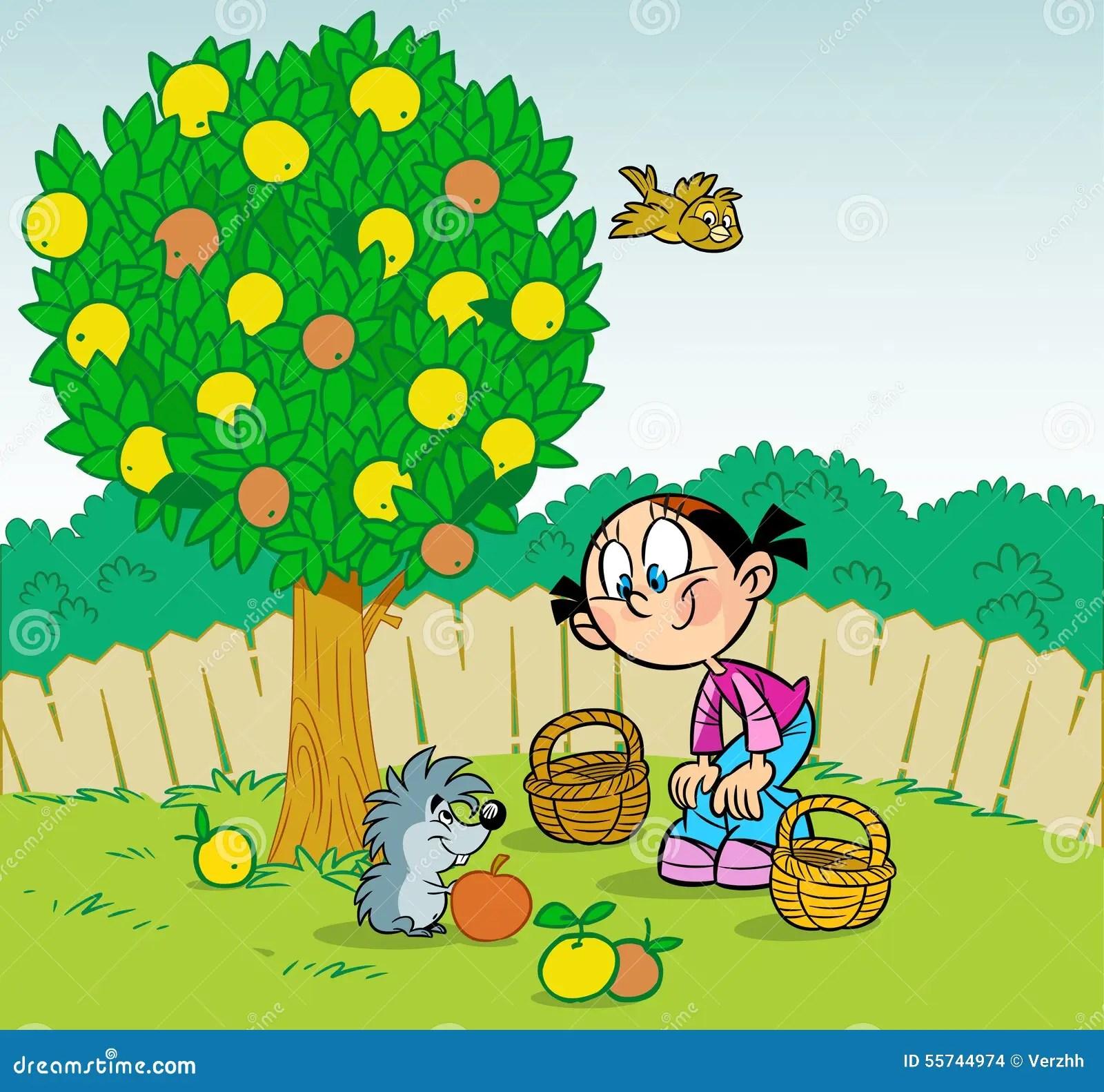 Girl And Hedgehog In The Garden Stock Vector