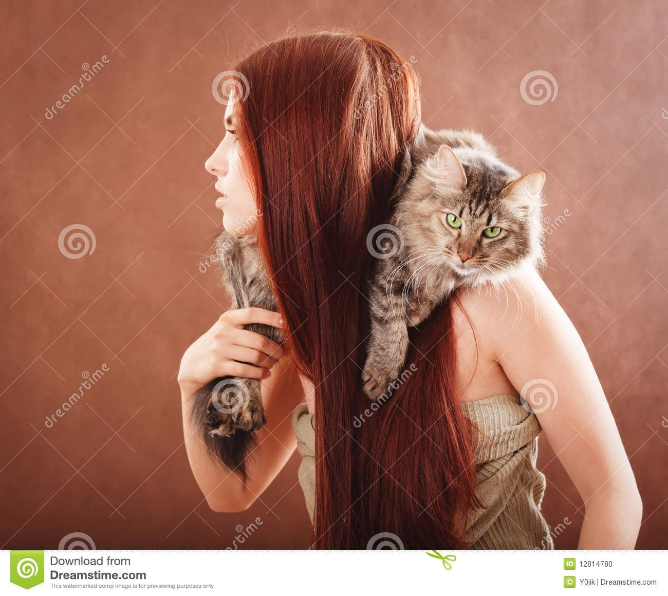 girl holding a cat stock photo image 12814780