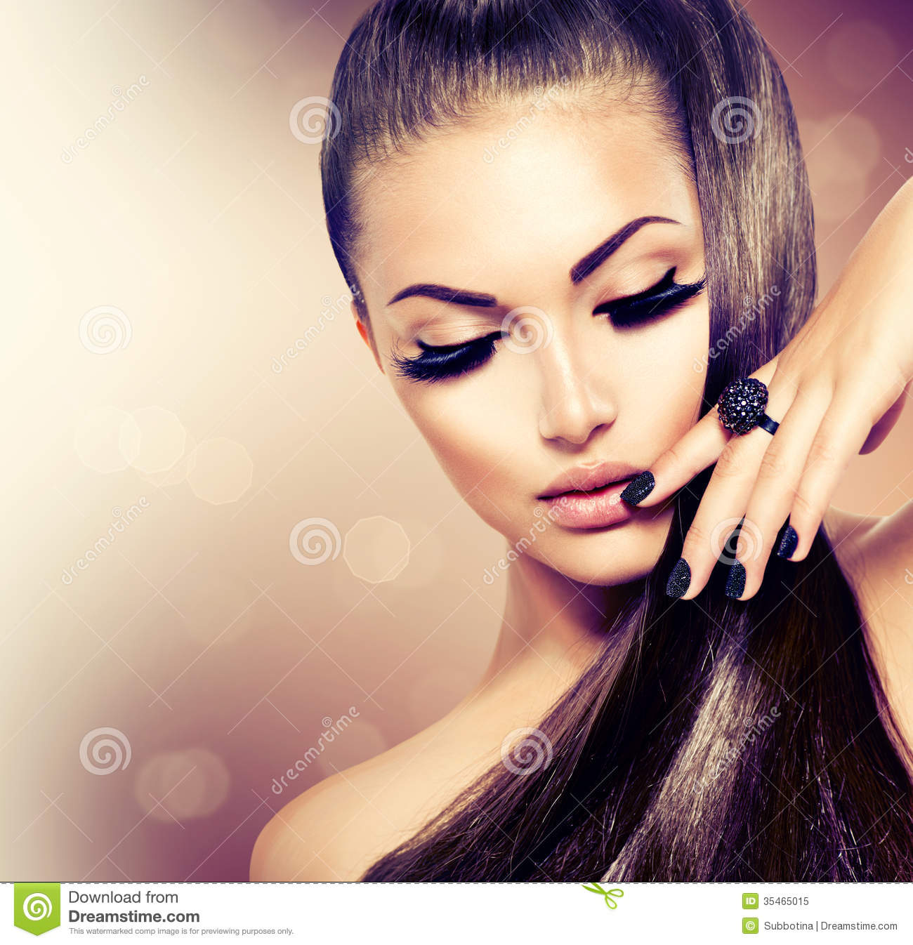 Girl With Long Healthy Brown Hair Stock Image