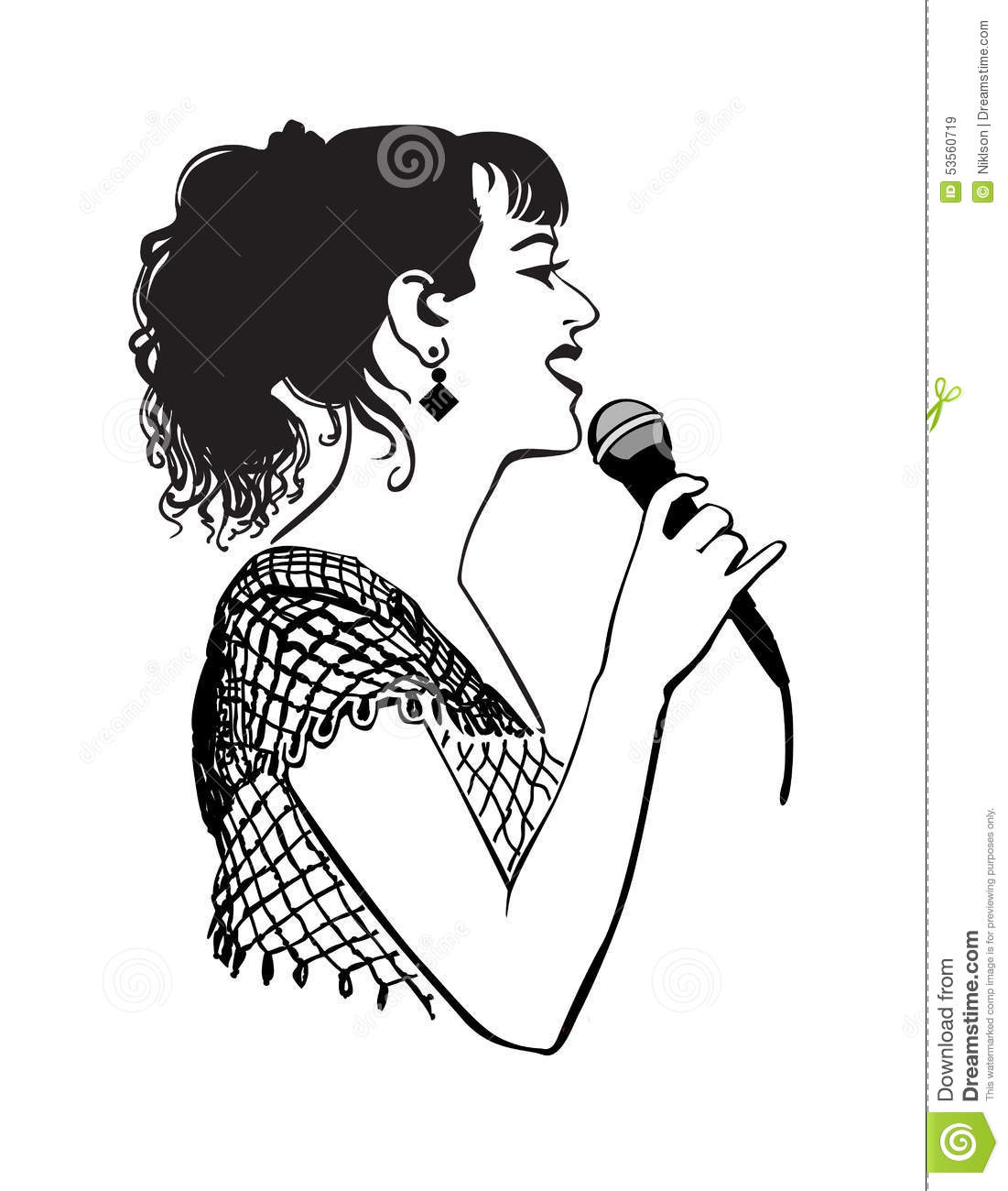 Girl With A Microphone Stock Vector Illustration Of