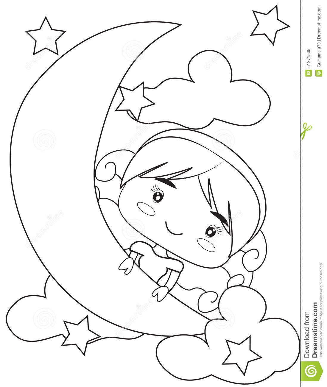 Girl On The Moon Coloring Page Stock Illustration
