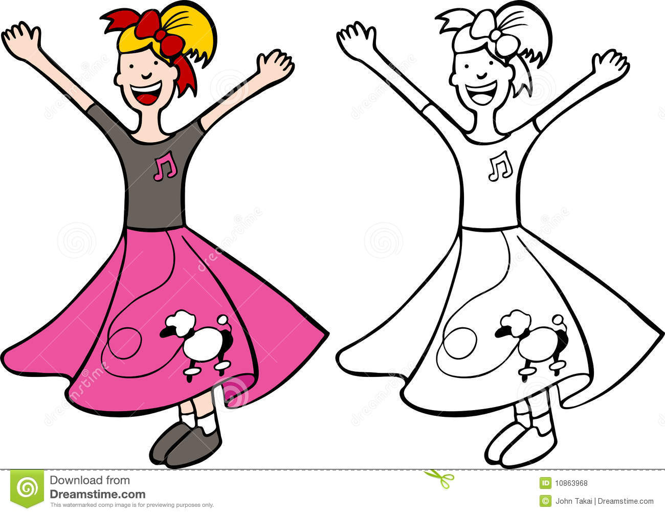 Poodle Skirt Coloring Sheets