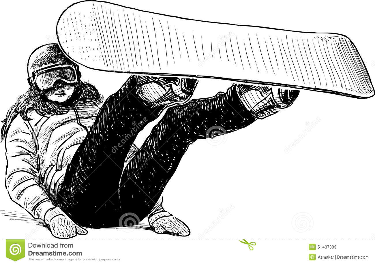 Girl With A Snowboard Stock Vector Image Of Snowboarder