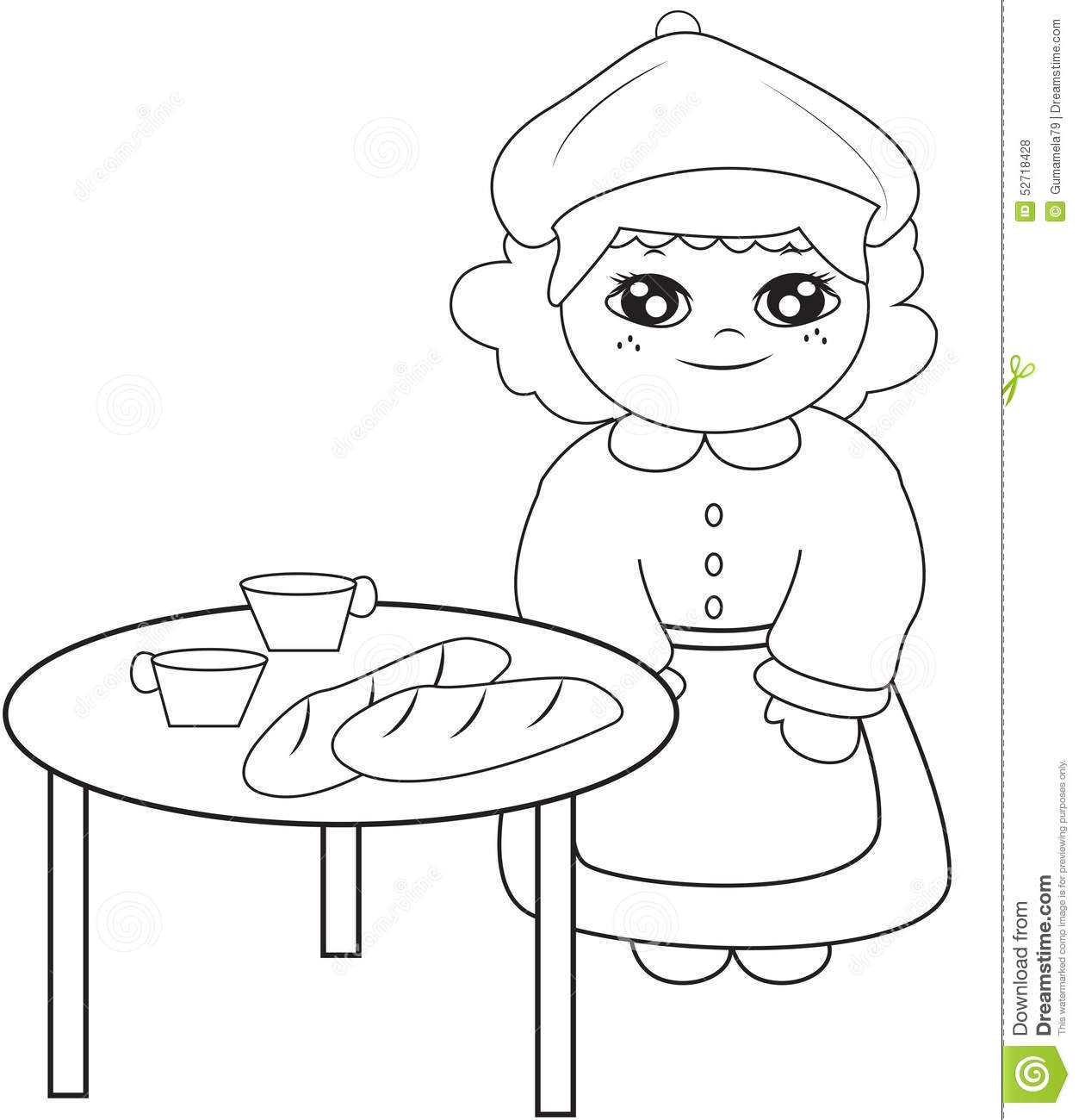 Girl Beside The Table Coloring Page Stock Illustration