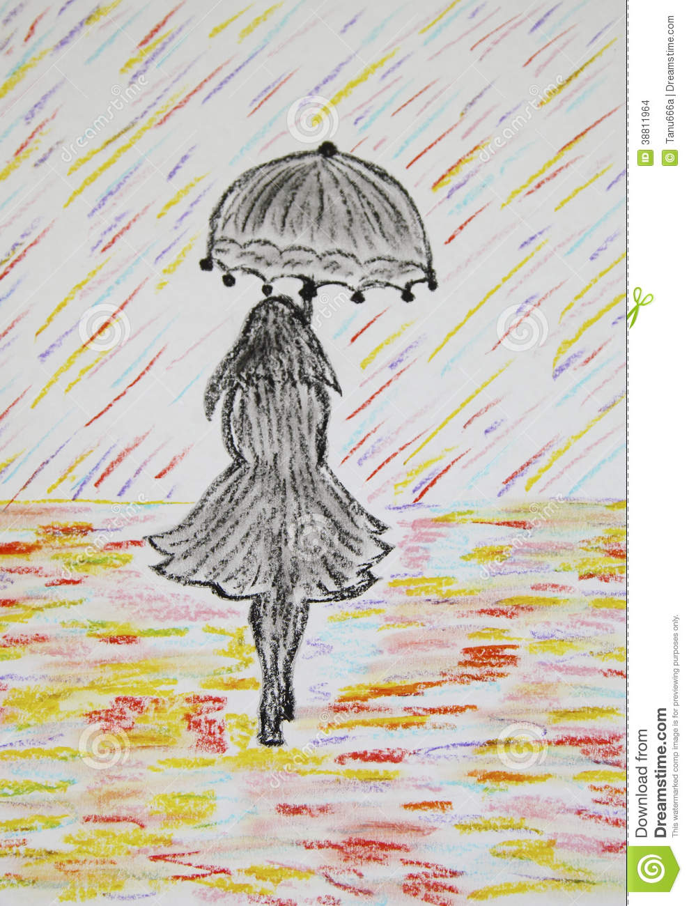 Girl With Umbrella Goes Under A Colored Rain Stock Photo