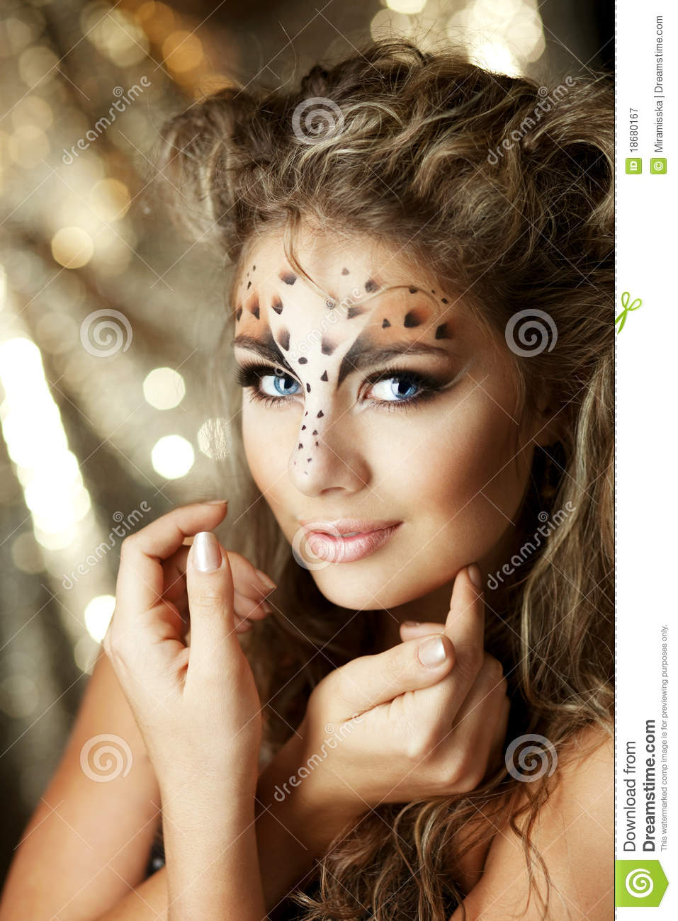 Girl With An Unusual Make Up As A Leopard Royalty Free