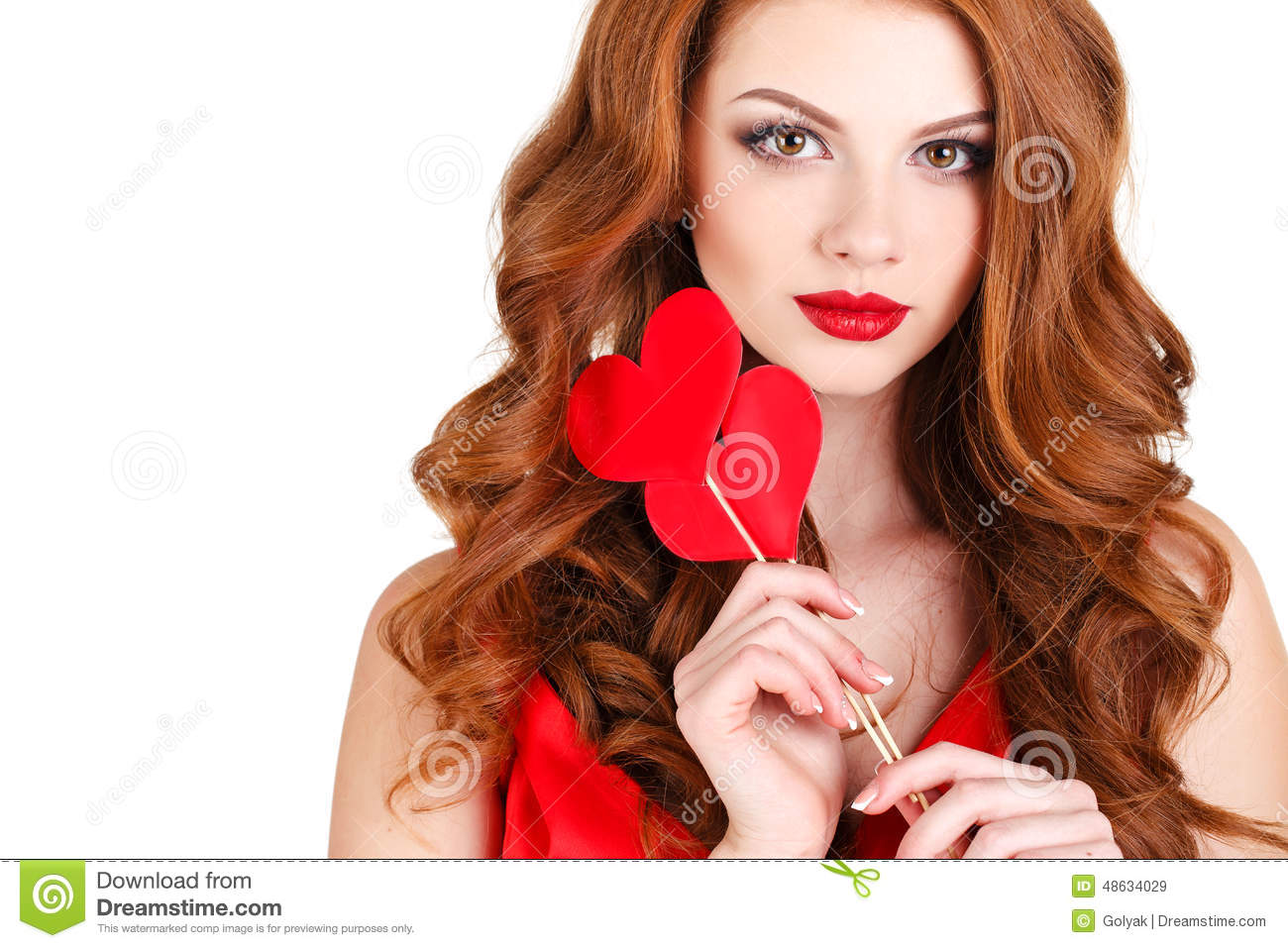 Girl In A Valentines Day With A Heart On A Stick Stock