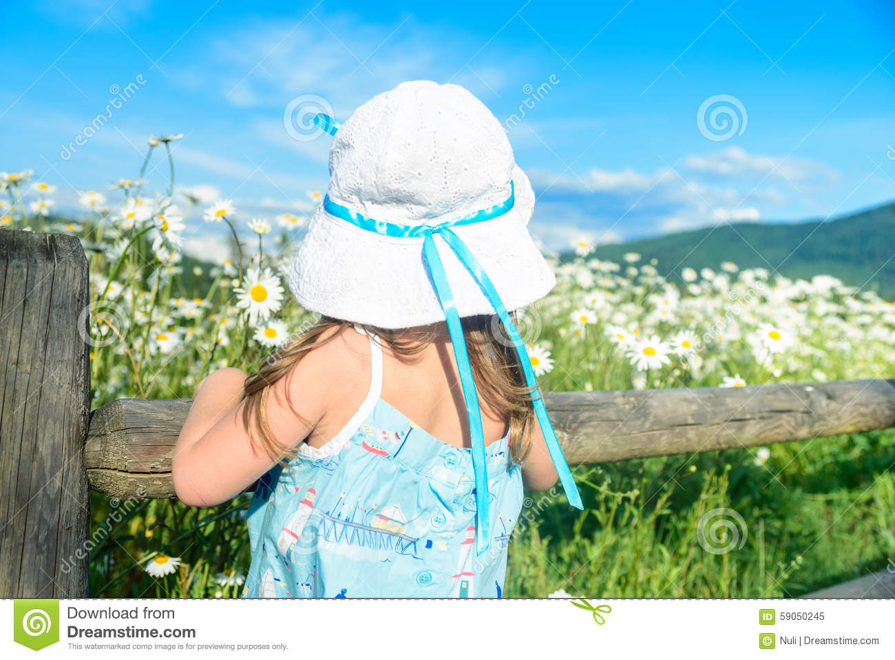 Girl In White Hat Looking At The Beautiful Field Of Daisies Stock Photo