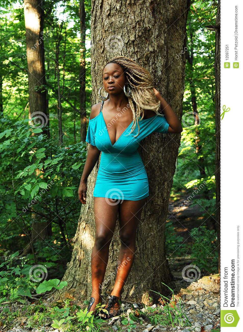 Girl In The Woods Stock Image Image 12097251