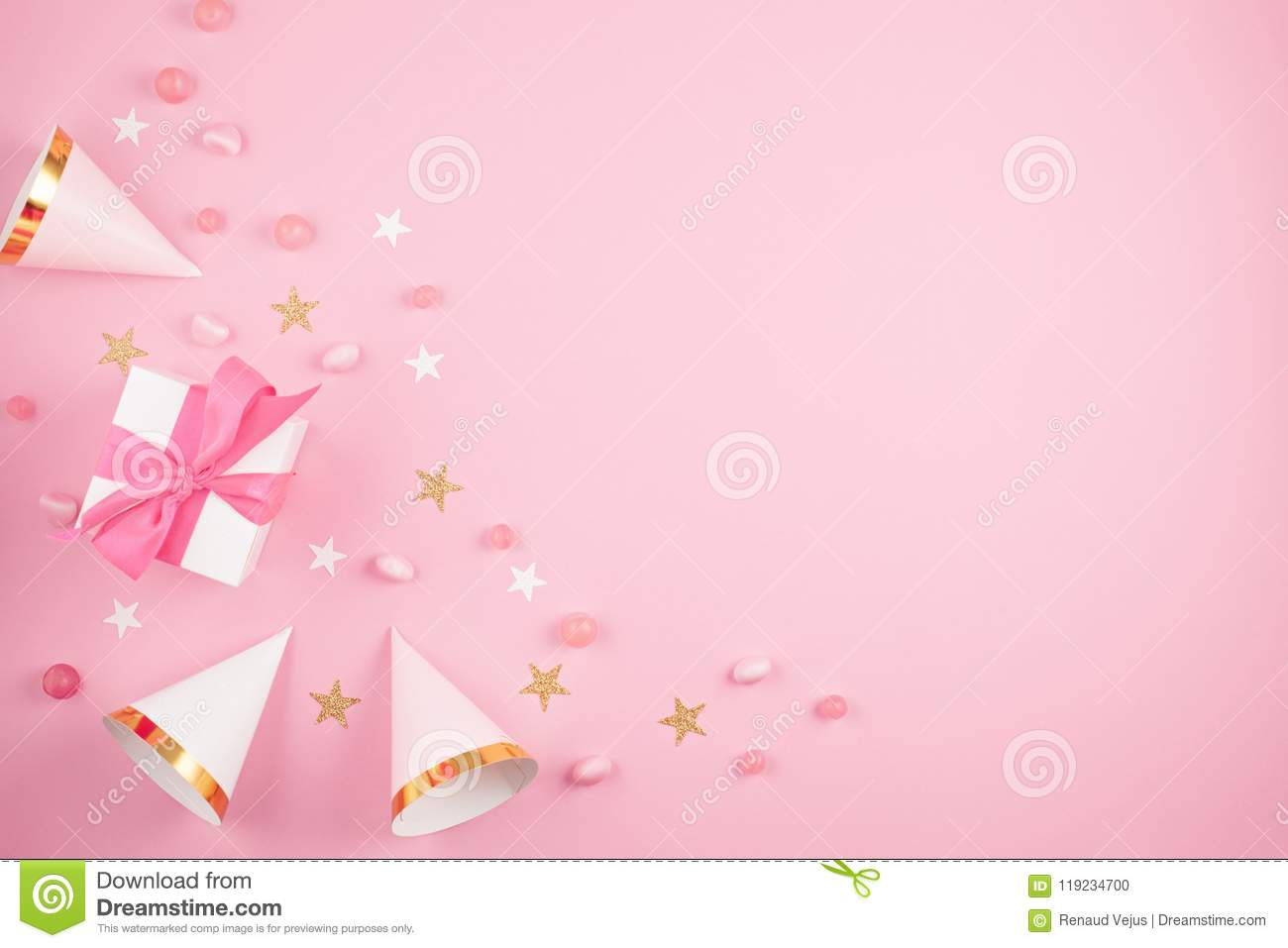 https www dreamstime com girls party accessories over pink background invitation bi girls party accessories over pink background invitation image119234700